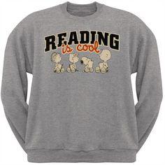 Peanuts - Reading Is Cool Adult Crew Sweatshirt