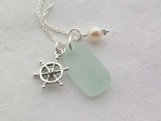 Scottish Sea Glass and Sterling Silver Ships Wheel Necklace - AHOY £24.00 different sea inspiration