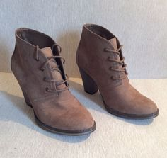 MIA Kellie Ankle Boots Size 5 Taupe Textile Lace Up Women Casual Shoes Heels #MIA #AnkleBoots #CasualWearToWork