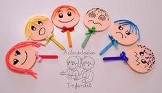 Piruletas de las emociones para jugar en la asamblea diciendo como se sienten hoy. Library Activities, Kindergarten Activities, Preschool Activities, Yoga For Kids, Art For Kids, Crafts For Kids, Fun Learning, Teaching Kids, Emotions Activities