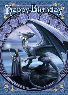 Lady and Dragon Card | Anne Stokes Magickal Dragon Happy Birthday Card