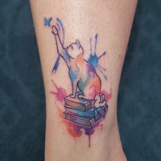 Cat watercolor tattoo