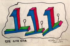 One One One. Original art drawing. Small. Abstract. Markers. Free hand. #Abstract