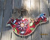 Big Burlap Bird Door Hanger Mixed Media