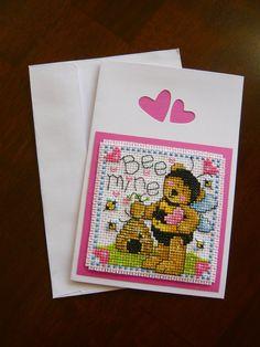 Bee Mine Valentine cross stitch greeting card by TheGardenStitcher
