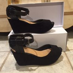 Black Suede and Leather Platform Wedges Super comfortable! Fashion Pleather. Only worn once in great condition. Size 6.5. Fit true to size. Rouge  Shoes Platforms