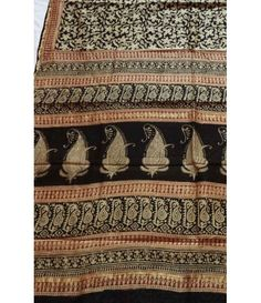 Black Pure Hand Block Printed Kalamkari Silk Saree
