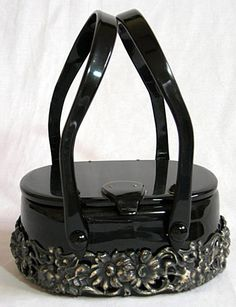 Gorgeous black lucite purse with filigree flowers. #vintage #purses #handbags #accessories
