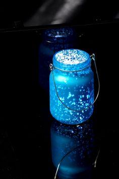 Mercury Glass Mason Jar Blue 5in