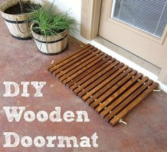 27 of the easiest woodworking projects for beginners. Including this DIY wooden door mat