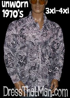 3XL 4XL Mens 1970's Disco Shirts UNWORN Vintage