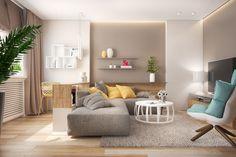 wohnzimmer einrichten beispiele beige farbige akzente pflanzen hängeleuchten