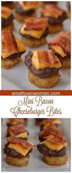 These Mini Bacon Cheeseburger Bites are perfect for your next game day party, neighborhood soiree or kid sleepover! These Mini Bacon Cheeseburger Bites are perfect for your next game day party, neighborhood soiree or kid sleepover! Appetizers For Kids, Finger Food Appetizers, Appetizer Recipes, Crowd Appetizers, Appetizer Ideas, Mini Appetizers, Christmas Appetizers, Kid Friendly Appetizers, Wedding Appetizers