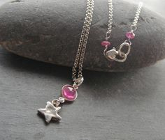 Sterling Silver, Pink Sapphire, Artisan Silver Star Charm Necklace, Artisan Jewelry, Sundance Style. $54.00, via Etsy.