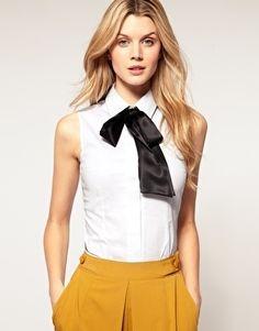 ASOS Sleeveless Cotton Satin Bow Shirt - StyleSays