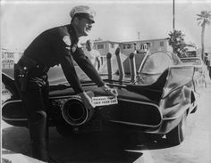 A Torrance Police Officer with the #1 Batmobile in 1966