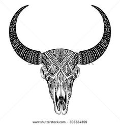 Decorative Indian bull skull in tattoo tribal style Hand drawn vector illustration