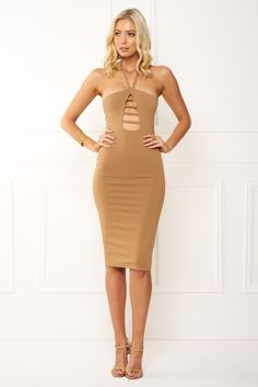 Shop the amazing Honey Couture IVY Nude Halter Tie Midi Dress online now, get FREE shipping on all orders over $100 in Australia. Pay via AfterPay & ZipPay. We ship WORLDWIDE! #style #ootd #honeycouture #onlinestore #afterpay #celebfashion #australianlabel #shopnow #getthelookforless #zippay #fashion #celebstyle #polipay #aussieboutique #weshipworldwide  https://goo.gl/6tHHX3