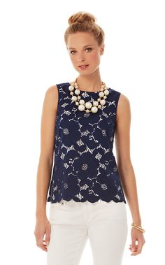 Iona Sleeveless Floral Lace Shell - Lilly Pulitzer