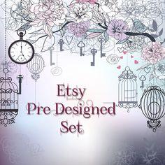 9 Piece Etsy Pre Designed Set by BlueberriesNBlue on Etsy, $15.00
