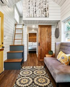 """Cypress"" Tiny House by Mustard Seed Tiny Homes Tiny House Movement // Tiny Living // Tiny House Living Room // Tiny Home Bedtoom // Tiny House Loft, Two Bedroom Tiny House, Tiny House Living, Tiny House Plans, Tiny House Design, Tiny House On Wheels, Small Living, Home And Living, Cottage House"
