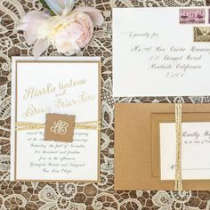 Gold Calligraphy Wedding Invitation Suite honey-paper.com #pacificweddings #santaynezwedding #santabarbarawedding #vintagestamps #lace
