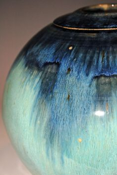 My most popular glaze! I cut in the rim for an interesting detail at the top. Round Blue and Green Waterfall Pottery Vase by nhfinestoneware, $115.95 with free shipping!