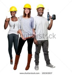 A black man and African American woman and caucasian woman construction worker a job site - stock photo