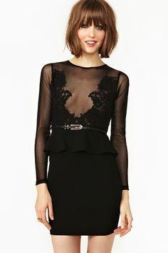 now that i no longer have boobs... Forgotten Rose Peplum Dress | NastyGal