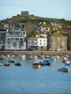 St Ives - we stayed in the white building, flats with balconies, one very wet summer