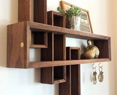 Detail shot of Mid-century Modern Entryway Organizer in walnut by brassandbark.com #brassandbark