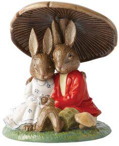 Royal Doulton Bunnykins Cuddling Under a Mushroom