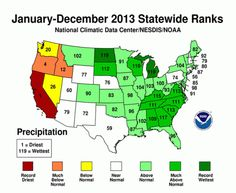 U.S. Precipitation Extremes Highlights of Quieter 2013 - 2013 wasn't even close to the warmest or wettest year on record, but it was a year that split the U.S. with extremes — wet in the east and dry in the west. That's the picture the National Oceanic and Atmospheric Administration painted with its review of 2013 weather across the country, an annual report published Wednesday.