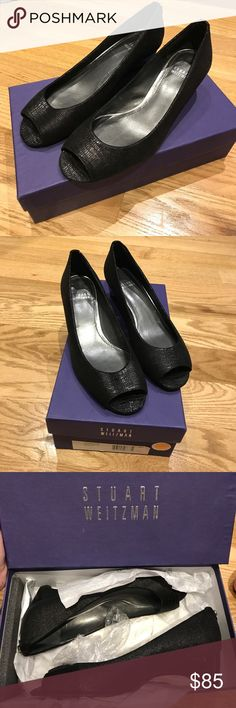 "NIB Stuart Weitzman peep toe kitten wedges! New in box. Only worn to try on. Stuart weitzman black peep toe wedge heels with a tiny (1.5"") kitten heel. Adorable and classy shoes. Offers welcome or consider a bundle for at least 20% off two or more items! Stuart Weitzman Shoes Heels"