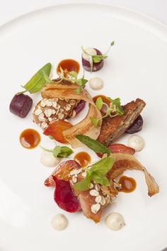 Rabbit with beetroot and watercress. It's easy to replicate this with chicken, too. One of the dishes featured in Burnt, the movie starring Bradley Cooper as a chef determined to earn his third Michelin star. In theaters Oct. 23!