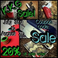 K.K.G Sale! Get 20% off your entire order. Now until August 7th. Use coupon code: Sale to get your discount. #kobrakydexgear #sale #kydex #kydexholster #keykradle #wallet #kydexbead #holster #concealer #iwb #owb