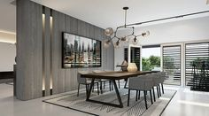 MODERN DINING ROOM IDEAS | the grey color scheme is pefect for modern decors, walls , chairs, rugs can all be in the same shades | www.bocadolobo.com #diningroomdecorideas #moderndiningrooms