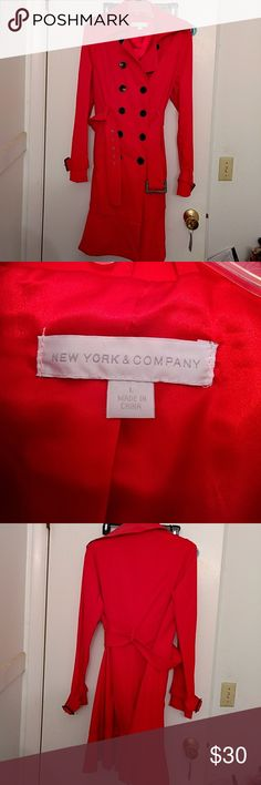 New York & Company Trench Coat EUC New York & Company Trench Coat EUC color bright red New York & Company Jackets & Coats Trench Coats