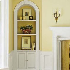recessed arch in corner make bookshelf - Google Search