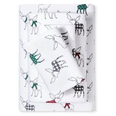 Flannel Sheet Set (Queen) Multi Moose Print (Queen) - Evergreen