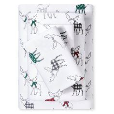 Flannel Sheet Set (King) Moose Print - Evergreen