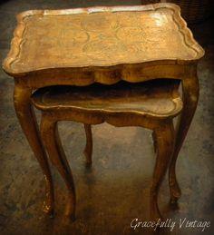 Vintage Wood Italian Tole Nesting Tables