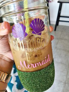 Mermaid glitter mason jar / mermaid glitter mason jar cup //