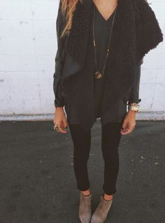 e92b33bb5479 Black Shearling Vest black skinnies and coffee ankle booties