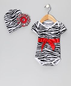 Take a look at this Red Zebra Bodysuit & Beanie by Royal Baby by Royal Gem Clothing on #zulily today!