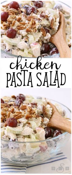 Chicken Pasta Salad is a lovely summer meal filled with tender chicken, apples, grapes, celery & pecans. Topped with a light dressing & chopped pecans.