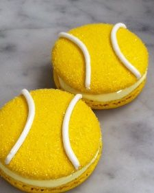 In honor of the 2013 US Open, Epicerie Boulud's pastry chef Mymi Eberhardt created tennis-themed lemon macarons with lemon-marshmallow and fresh raspberry filling.