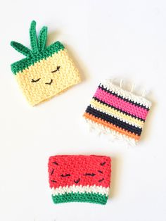Pineapple & watermelon cup cozy