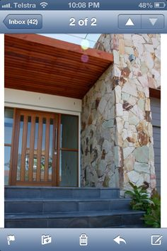 Stone feature wall Eco outdoor crackenback Stone Cladding Exterior, Sandstone Cladding, Sandstone Wall, Stone Facade, Wall Exterior, Stone Feature Wall, Feature Walls, Street House, Stone Walls