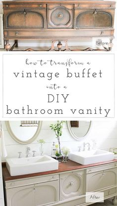 A step-by-step tutorial to turn any vintage piece into a gorgeous, one of a kind DIIY vanity! | www.makingitinthe...